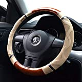 """Amo Microfiber Leather Car Steering Wheel Cover, Massage Design, Comfortable and Anti-Slip, fits All 14.5"""" to 15"""" (M) Steering Wheels, Beige"""