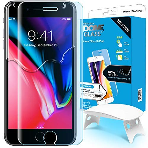 iPhone 8 Plus / 7 Plus Screen Protector Tempered Glass, Full Cover Screen Shield [Dome Fix] Easy Install and Repair Kit by Whitestone for Apple iPhone 8 Plus / 7 Plus - 1 Pack by Dome Glass