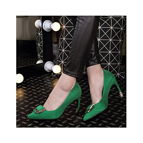 OCHENTA Mujeres Zapatos de tacón Alto la Altura del talón 7CM Elegante Trabajo de la Boda Verde