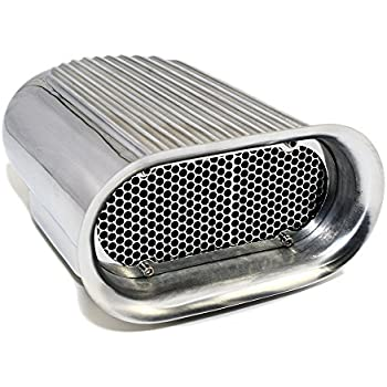 Hilborn Style Aluminum Polished Finned Hood Air Scoop Kit Single 4 BBL Carb