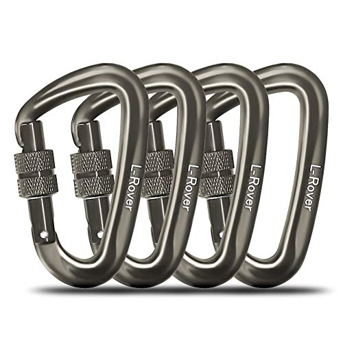 L-Rover Ultra Sturdy Locking Carabiner Clips 2 or 4 Pack-12KN/2645lbs Aluminium carabiners Heavy Duty for Hammocks, Keychain,Swing,Locking Dog Leash and Harness, Camping, Hiking & Utility ()