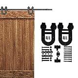 KIRIN Door Hardware 9 FT Sliding Barn Door Hardware Track Accessories Set Kit For Single Wood Door (Double horseshoe shape)