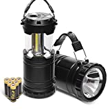 COB LED Camping Lantern and Handheld Flashlight Combo 2 in 1-PACEARTH Magnetic Base Removable Handle Spotlight Brighter with 3 AA Batteries for Emergencies Hurricane Power Outage New Design 2-Pack