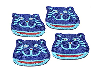 Diwali Gifts Playful Beaded Coasters for Drinks Set of 4 Kitty Shape Bar Dining Party Tabletop Accessories Kids Room Furniture