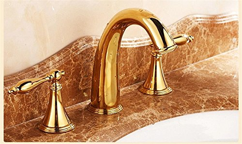 Ling Kitchen Sink Faucets Basin Mixer Faucet Tap Bathroom Faucet Tap Gold 3 Piece Double to sit Titanium Three Hole 8 inch Spout Water Pull ()