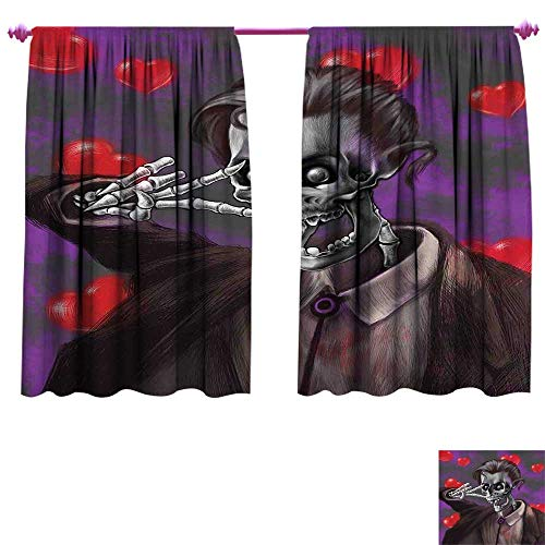WinfreyDecor Skull Room Darkening Wide Curtains Romantic Skeleton Handsome Corpse Groom with Tuxedo Hearts in The Backdrop Print Decor Curtains by W72 x L45 Black and Red