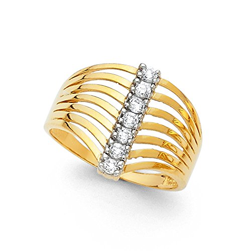 CZ Semanario Ring Solid 14k Yellow Gold Seven 7 Day Band Stackable Look Polished Finish Fancy, Size 6.5 (Yellow Fancy Ring Gold)
