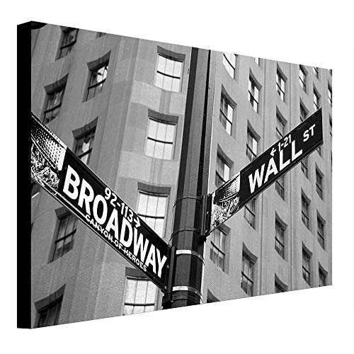 depinshangmao New York Canvas Street Signs of Intersection of Wall Street and Broadway Finance Destinations Painting Black and White - Canvas Messenger Broadway