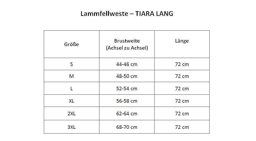 Hollert Damen Lammfellweste Tiara LANG 100/% Merino Schaffell Echtleder Winter Fellweste Knebel