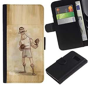 EJOY---La carpeta del tirón la caja de cuero de alta calidad de la PU Caso protector / Samsung Galaxy S6 / --boxeador varoniles vendimia hombre guantes retro