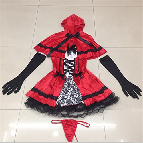 Fanala Sexy Cardinal Little Red Riding Hood Halloween Costumes for Women cosplay Party Dress (Little Red Riding Hood Cosplay)