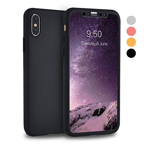 iPhone X Case, iPhone 10 Case, VANSIN 360 Full Body Protection Hard Slim Case Coated Non Slip Matte Surface with Tempered Glass Screen Protector for Apple iPhone X (2017) - - Coated Black Glass Tempered