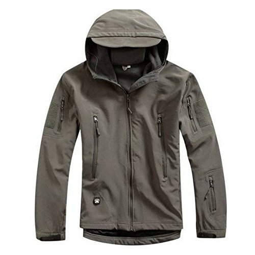 Waterproof Military Tactical Combat Softshell Jacket Outdoor Camping Hiking Camouflage Hoodie Coat (Gray, ()