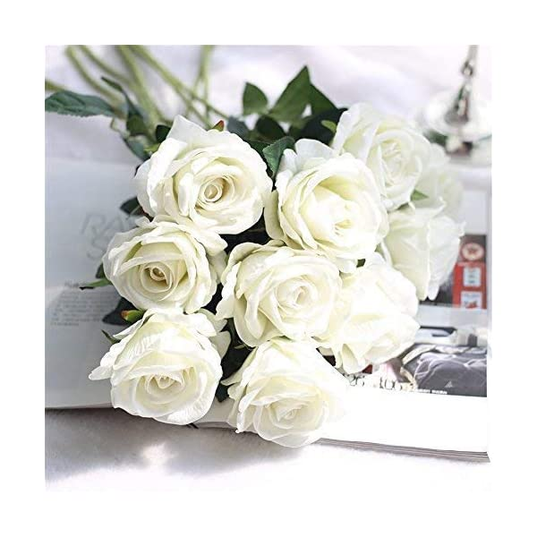 Cinxy Artificial Flowers Long Stem Silk Rose Flower Bouquet Wedding Party Home Decor, Pack of 6 (White) (White)