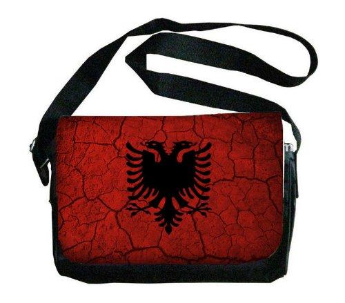 アルバニア国旗Crackledデザインメッセンジャーバッグ   B00FMFTSWO