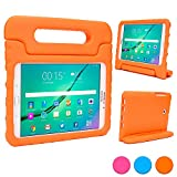 Samsung Galaxy Tab S2 8.0 kids case, COOPER DYNAMO Heavy Duty Children's Rugged Tough Bumper Hard Protective Case Cover with Built-in Handle, Stand & Free Screen Protector (Orange)