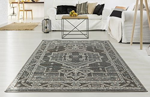 "Adgo Milano Collection Modern Contemporary Ethnic Bohemian Design Jute Backed Area Rugs High Pile Soft and Fluffy Indoor Floor Rug, Silver Grey Blue, 6'6"" x 9'"