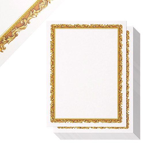 48-Sheet Certificate Paper - Letter Size Blank Diploma Paper, Gold Border Specialty Award Paper, Printer Friendly, Gold, 8.5 x 11 Inches (Frame Gold Certificate)