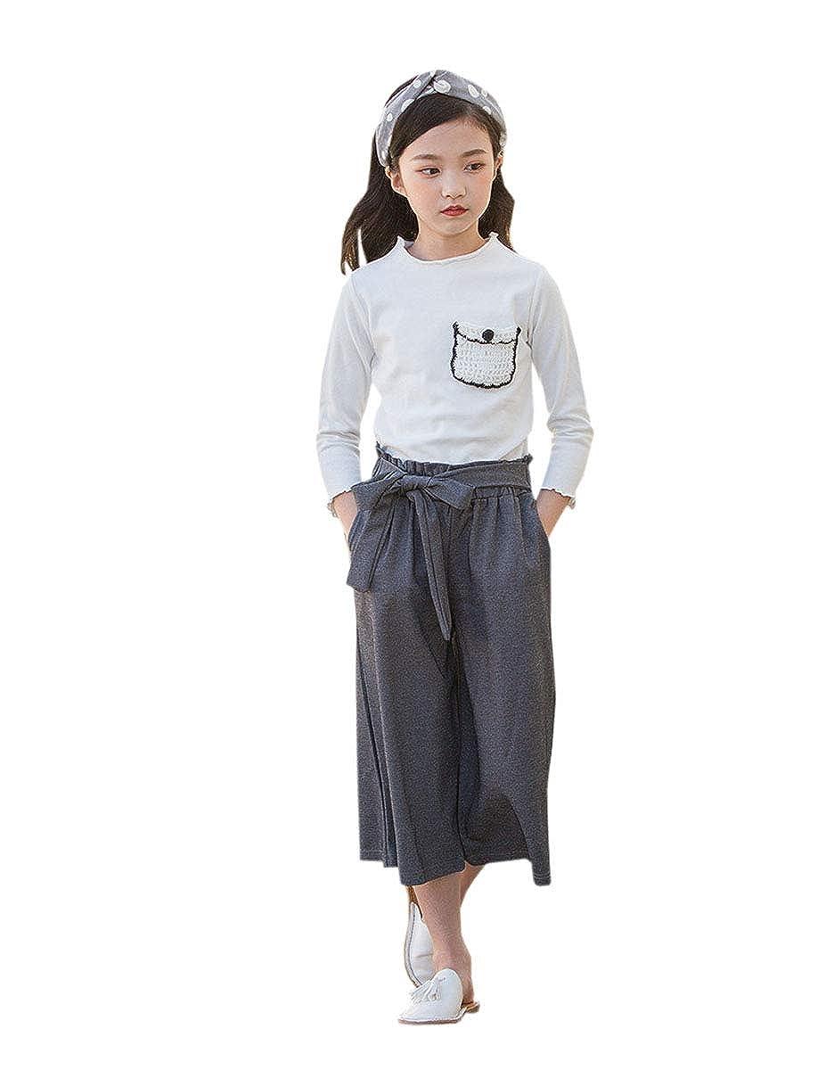 ACVIP Set Pantaloni Larghi Grigi Blusa Bianca Cotone per Bambine