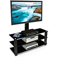 Mount-It! MI-866 TV Stand with Mount, Entertainment Center for Flat Screen TVs Between 32 to 60 Inch, 3 Tempered Glass Shelves and Powder Coated Aluminum Columns, VESA Compatible TV Mount, Black