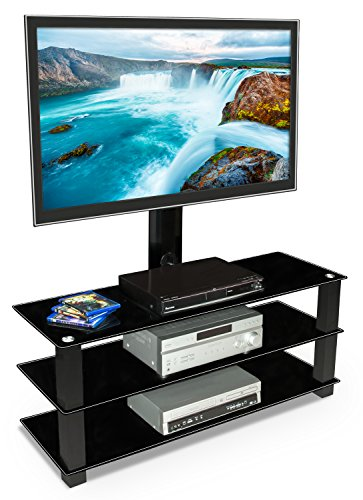 Mount-It! MI-866 TV Stand with Mount, Entertainment Center for Flat Screen TVs Between 32 to 60 Inch, 3 Tempered Glass Shelves and Powder Coated Aluminum Columns, VESA Compatible TV Mount, (Distressed Cherry Tv Stand)