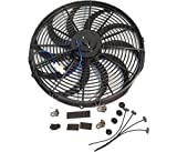 Universal High Performance 12'' Electric Curved Blade Reversible Cooling Fan 12V 80W 1400CFM w/Mounting Kit