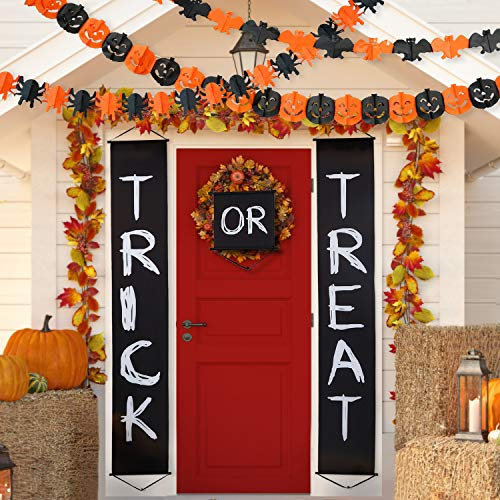 Blulu Halloween Decoration Set Trick or Treat Banner Halloween Paper Chain for Home Indoor/Outdoor Halloween Decorations with Halloween Paper Garlands Pumpkin Spider Bat Shape (Color 1) -