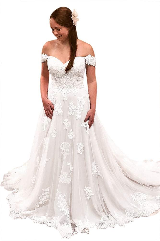 Tbgirl Off The Shoulder Lace Appliques Long Bridal Dress Wedding