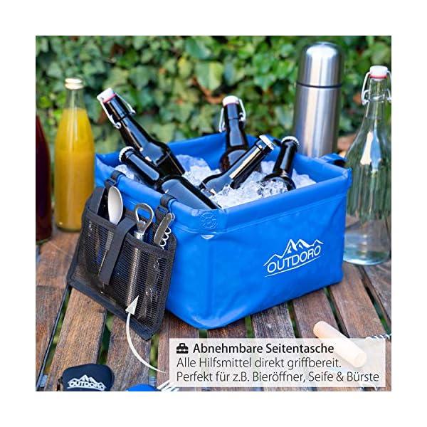 51bLefq4XnL Outdoro Faltschüssel Groß - 16/22 Liter - Inklusive Zusatz-Tasche - Langlebiges Planen-Gewebe - Faltbare Waschschüssel…