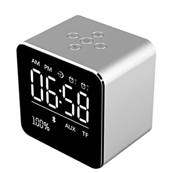 STRIR Reloj Alarma Digital Regulable con Radio FM Estéreo Y Sonido HD con Altavoces Bluetooth Wireless Stereo Altavoz Mic para iPad iPhone Móviles ...