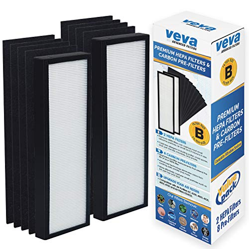 VEVA Premium 2 HEPA Filters and 8 Pack of Pre-Filters Compatible with Air Purifier Models AC4825, 4800, 4900 and Replacement Filter -