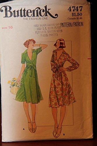 (Vintage Butterick Pattern 4747 Size 16 - Misses' Dress (uncut pattern, envelope has wear/tear))