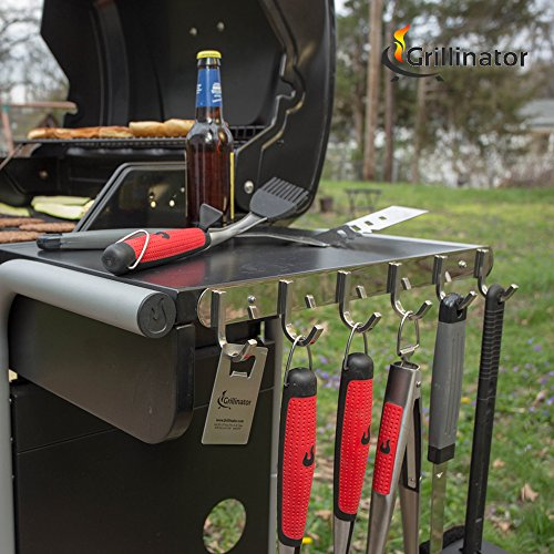 Grillinator BBQ Tool Rack - Polished Stainless Steel 6 Hook Storage for Grilling & Cooking Utensils - Easy to Install - Gas, Charcoal & Electric Grills - Indoor or Outdoor Use by Grillinator (Image #4)