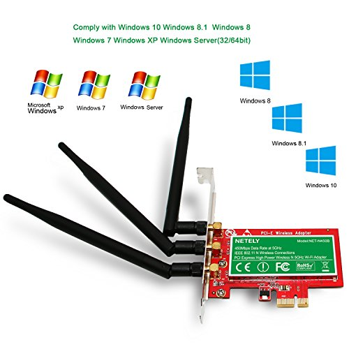 NETELY Wireless N 5GHz 450Mbps 3X3MIMO High Power PCI Express(PCI-E) Wi-Fi  Adapter for PCs or Working Stations-PCIE Wireless Network Card-Qualcomm