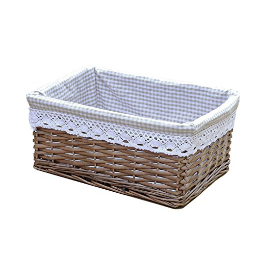 RURALITY Willow Wicker Storage Basket with Liner, Coffee Color, Large (Wicker Basket Liners)
