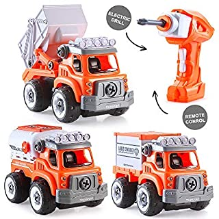 INSOON 3 in 1 Take Apart Toy Stem Car Toys for 3 4 5 6 Year Olds Boys Construction Toys Truck with Electric Drill Remote Control Kids Building Toys Car