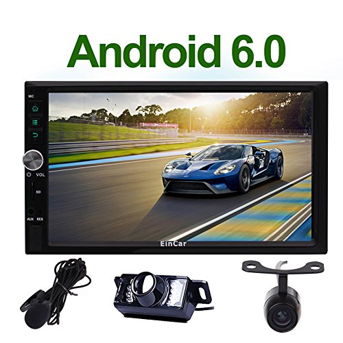 Quad Core Android 6.0 7'' Car Radio with GPS Navigation HD Touch Screen Double Din Car Stereo Audio System Support Bluetooth/WiFi/External Mic/USB/SD+ Front Reversing Camera