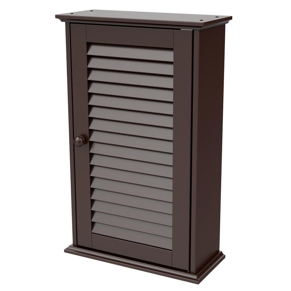 Yaheetech Wood Bathroom Wall Mount Cabinet Toilet Medicine Storage Organizer Single Door with Adjustable Shelves Espresso