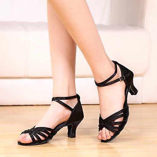 Abby 911 Femmes Salle De Bal Partie Excitante Peep Toe Rumba Chaton Talon Boucle Respirant Chaussures De Danse Latine Moderne Noir