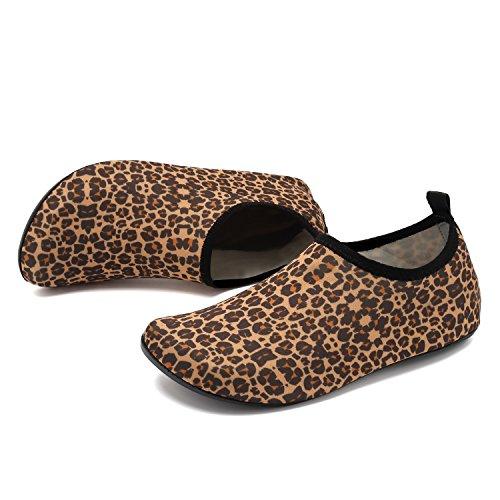 Bambino Leopardo acquatici da Scarpe Aqua sport on Quick Donna Barefoot per VIFUUR Yoga Slip Slip Uomo Arancia dry wa4tqZw
