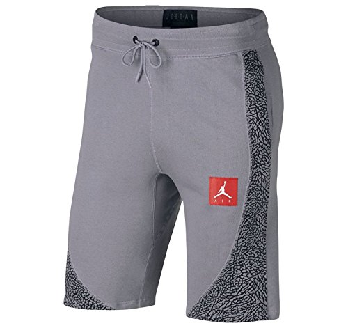 (Nike Men's Jordan Retro 3 Wings Lite Fleece Shorts (Stealth Grey/Black, XX-Large))