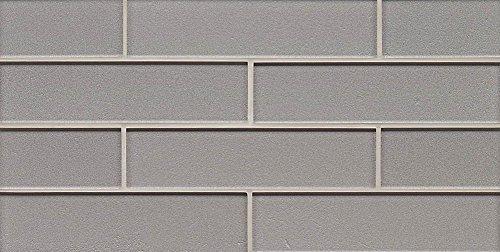 Bedrosians GLSMANPLA28G ''Manhattan'' 2 '' x 8'' Gloss Mesh Mounted Tile on Mosaic, 8'' x 16'', Platinum by Bedrosians