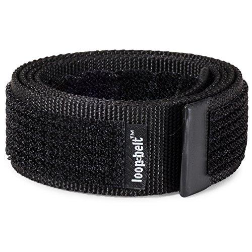 No Scratch Buckle Belt (Loopbelt M 34-38 No Scratch Reversible Web Belt with Advanced Hook & Loop Fasteners Black Medium 34-38)