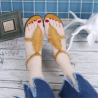LvYuan Mujer Sandalias Innovador Zapatos formales Semicuero Verano Casual Vestido Fiesta y Noche Innovador Zapatos formales Tacón PlanoNegro Yellow