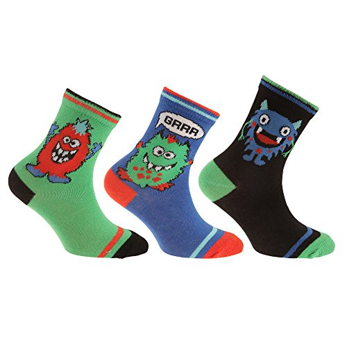 Childrens/Boys Cotton Rich Monster Design Socks (Pack Of 3) (13.5 Child US-4.5 US) (Black/Orange/Green/Blue)
