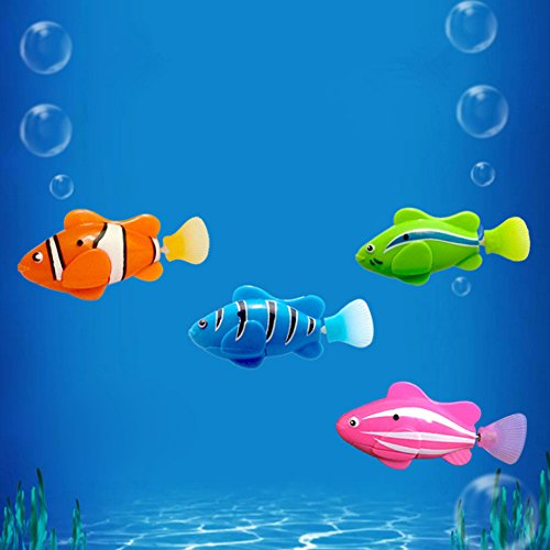 Plastic Fish Toy Robotic Swimming Fish 4 pcs Battery Operated Electric Swimming Diving Floating Water Activated Clown fish Robotic Fish in Water Magical Electronic Toy Kids Gift Safety Material