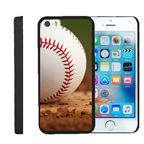 Compatible for Apple iPhone SE Case | iPhone 5/5s Case [Slim Duo] Compact Fit Hard Clip On Case Slim Cover on Black Sports and Games by TurtleArmor - Baseball Dirt