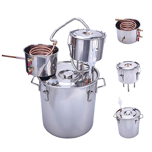 Seeutek Upgraded 8 Gal Moonshine Still Spirits Kit 30L Water Alcohol Distiller Copper Tube Boiler Home Brewing Kit with Thumper Keg Stainless Steel with Control Valve by Seeutek