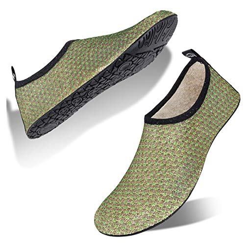 Womens and Mens Water Shoes Barefoot Quick-Dry Aqua Socks for Beach Swim Surf Yoga Exercise (Glitter-6/Green, L) from WateLves
