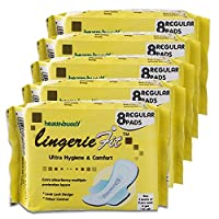 Healthbuddy Lingerie Fit Sanitary Pad Regular- 5 Packs Of 8 Pcs Each